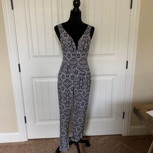 Black and white knit jumpsuit